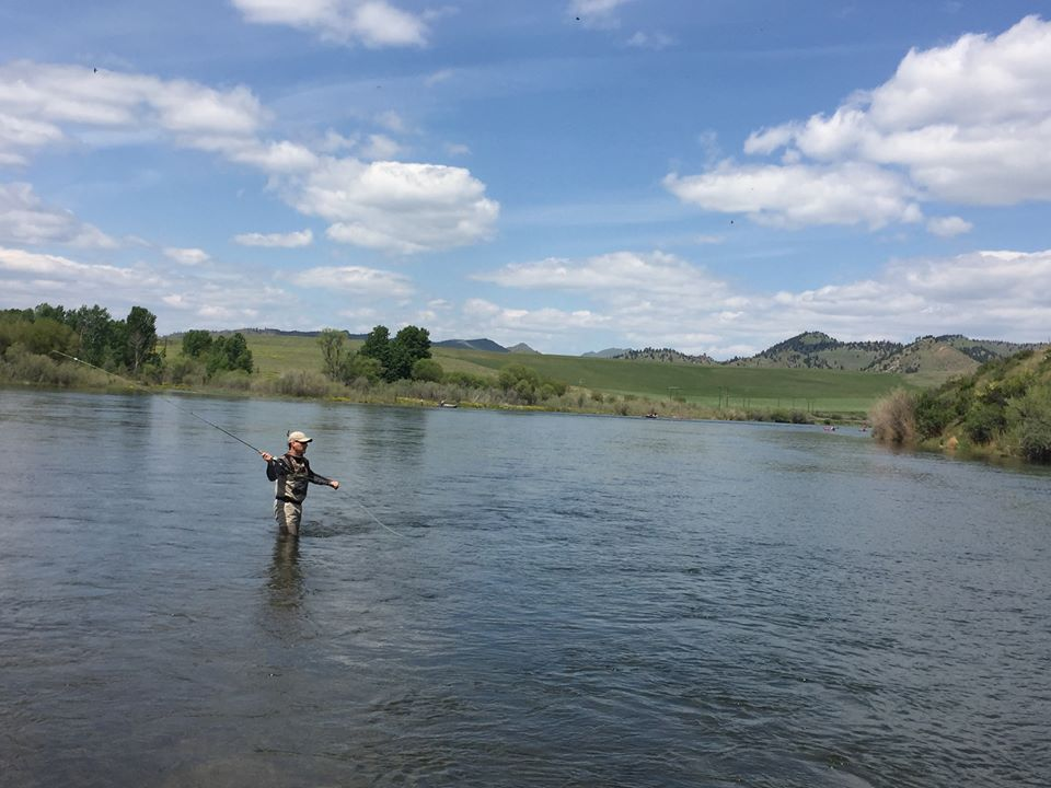 Guitarist Tommy Fedak fly fishing on the Missouri River